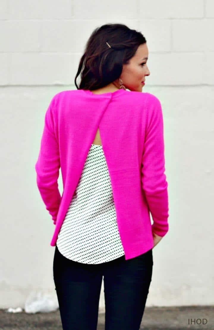 DIY suéter sin costuras con espalda abierta