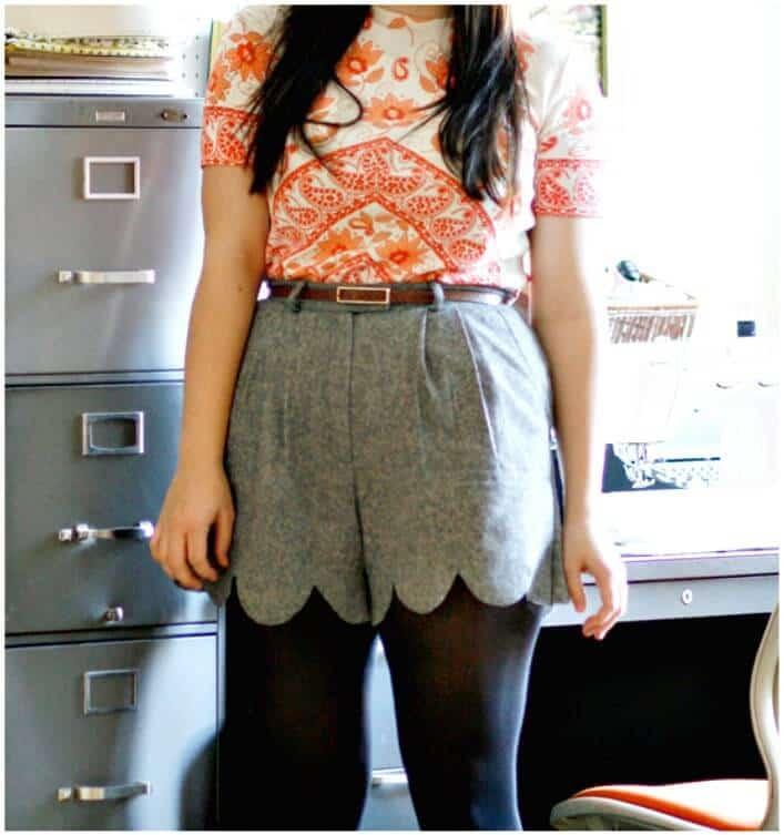 Pantalones cortos festoneados sin costuras de bricolaje