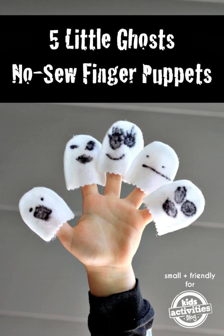 DIY sin coser 5 marionetas de dedo de fantasmas