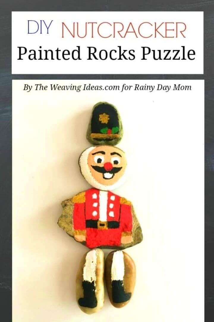 Rompecabezas de rocas pintadas de cascanueces de bricolaje, arte con rocas