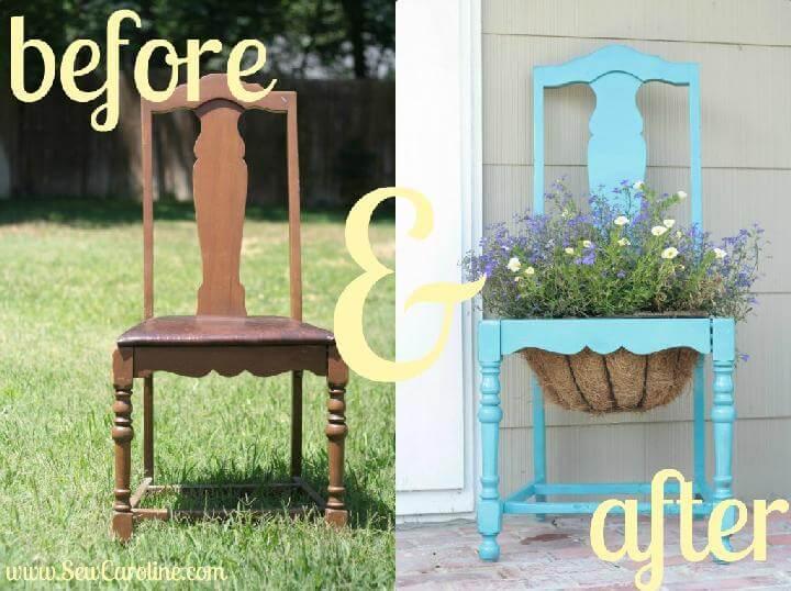Jardinera de silla vieja de bricolaje