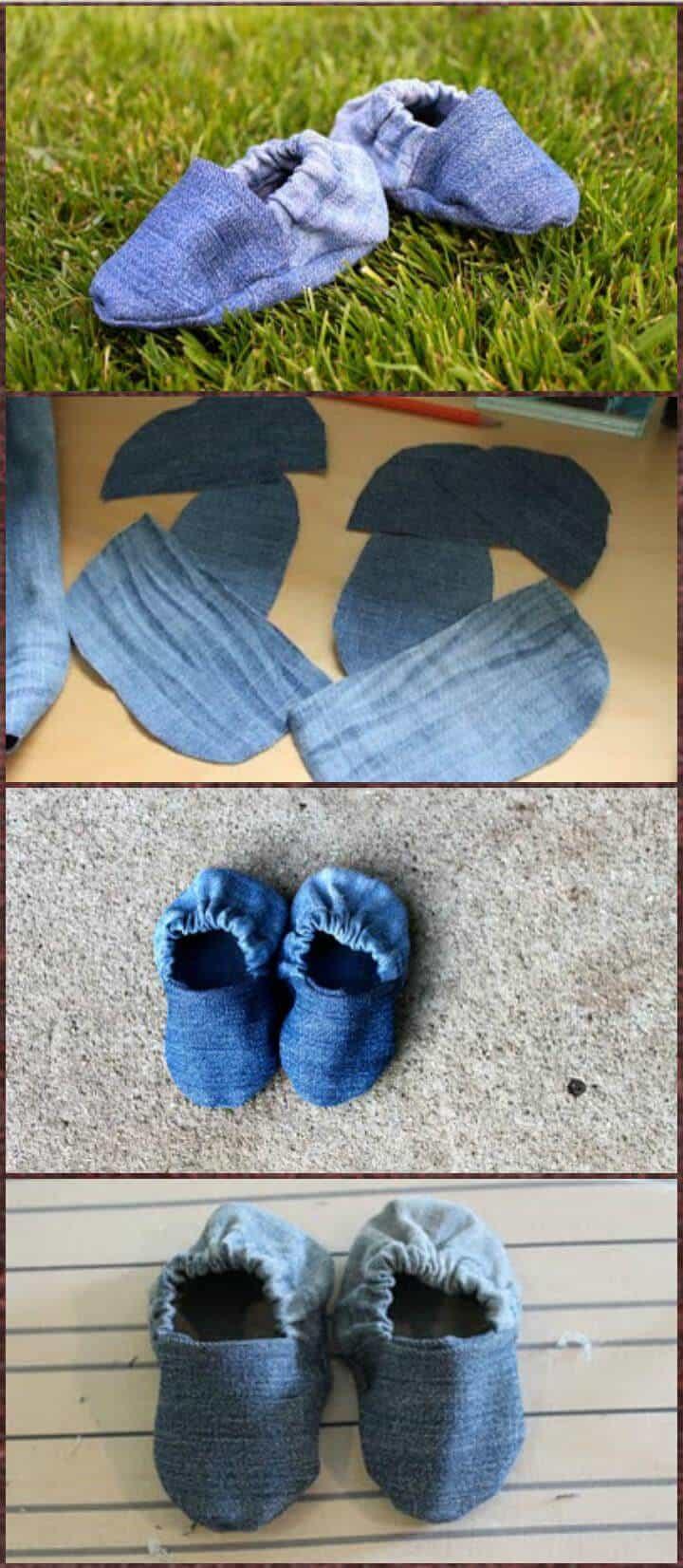 zapatos de bebé de mezclilla viejos recuperados