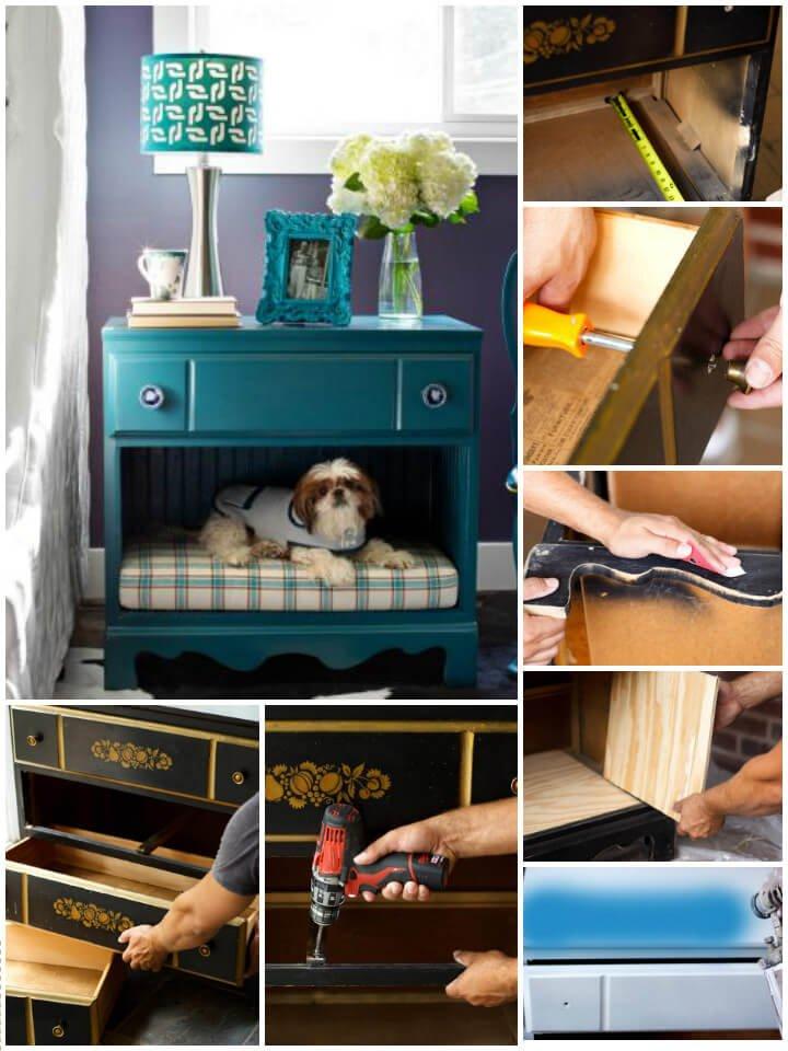 mesita de noche cama para mascotas hecha de una cómoda vieja
