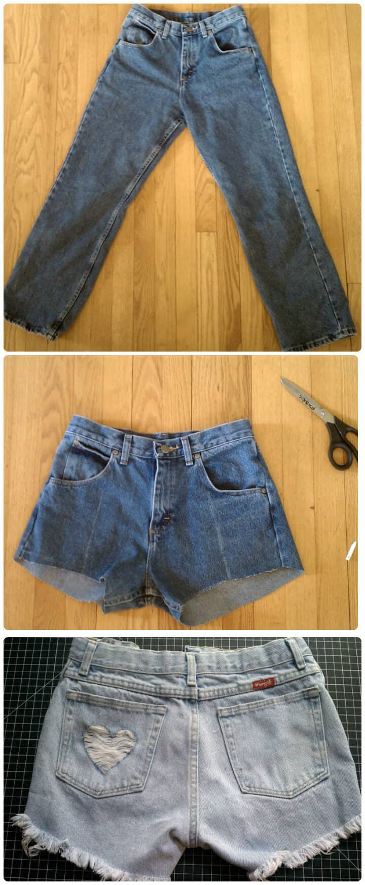 pantalones cortos de mezclilla viejos