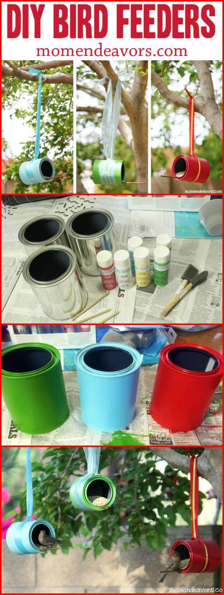 lata de pintura reutilizada colgando comederos para pájaros de jardín
