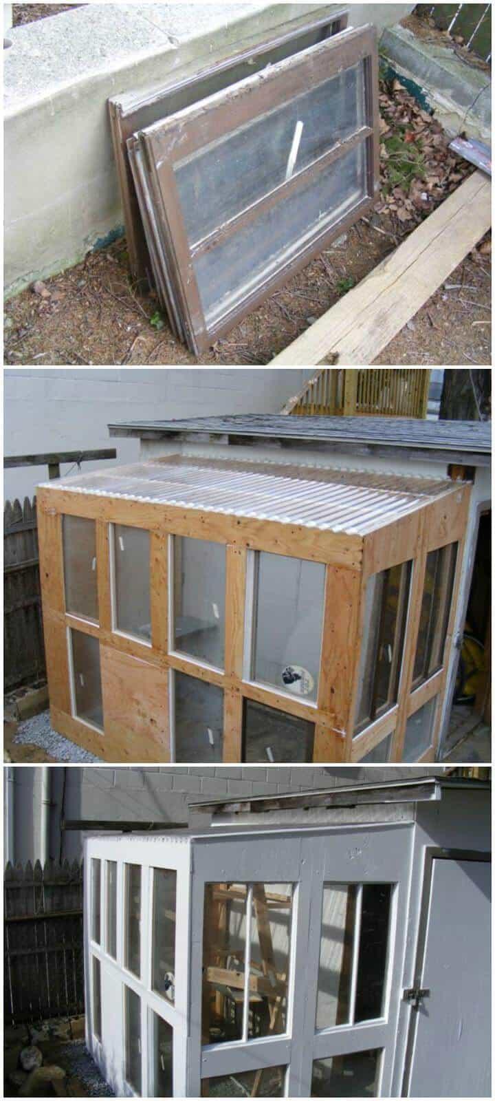Invernadero urbano de ventanas viejas de bricolaje