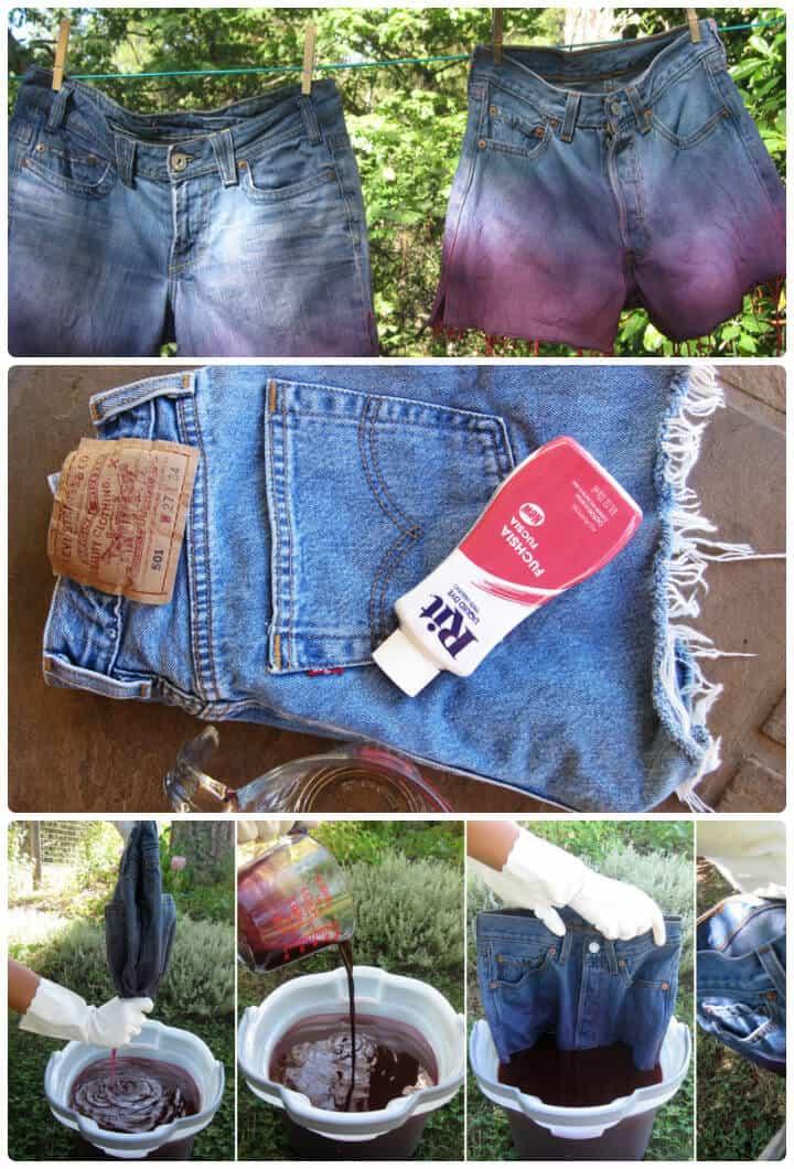 pantalones cortos de verano de mezclilla ombre para niñas