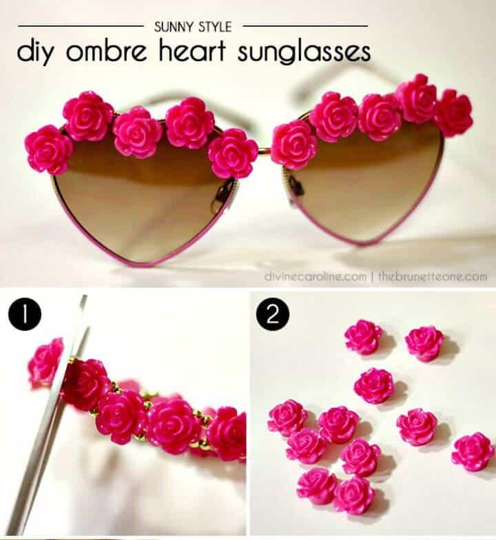 Bricolaje Ombre Heart Glasses - Ideas de moda de verano