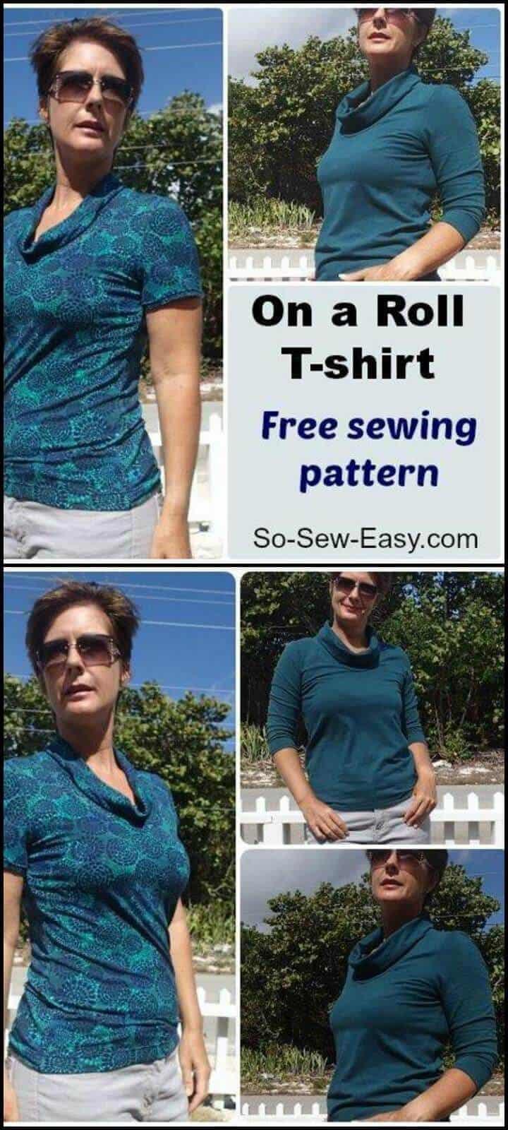 elegante en un rollo de camiseta patrón de costura gratis