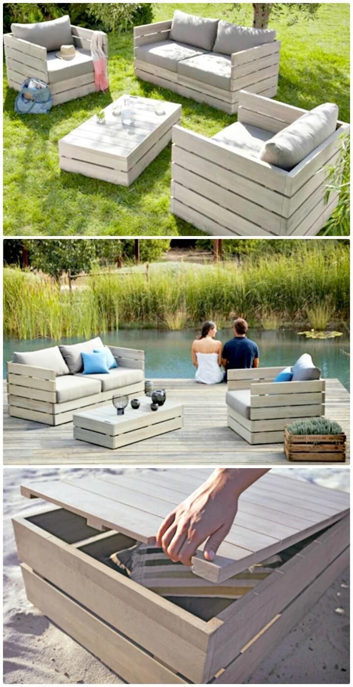 Adorable banco de almacenamiento de jardín al aire libre de bricolaje
