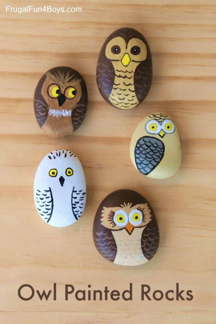 Rocas pintadas de búho de bricolaje, pájaros de roca pintados, animales de roca pintados, rocas pintadas para jardín