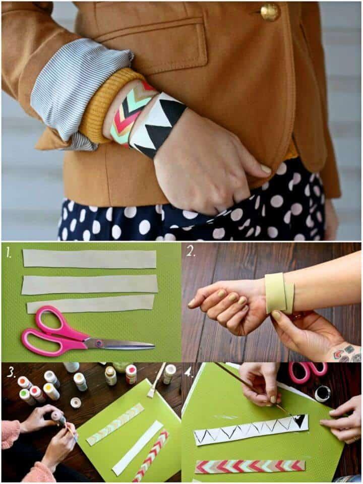 Brazalete de cuero pintado con bricolaje, brazalete bohemio de cuero hecho a mano que será un placer tener en la mano para las declaraciones de estilo.