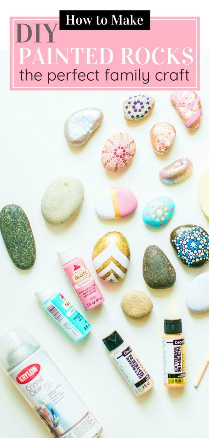 Artesanía de rocas pintadas con bricolaje para toda la familia_, patrones fáciles de pintura de rocas