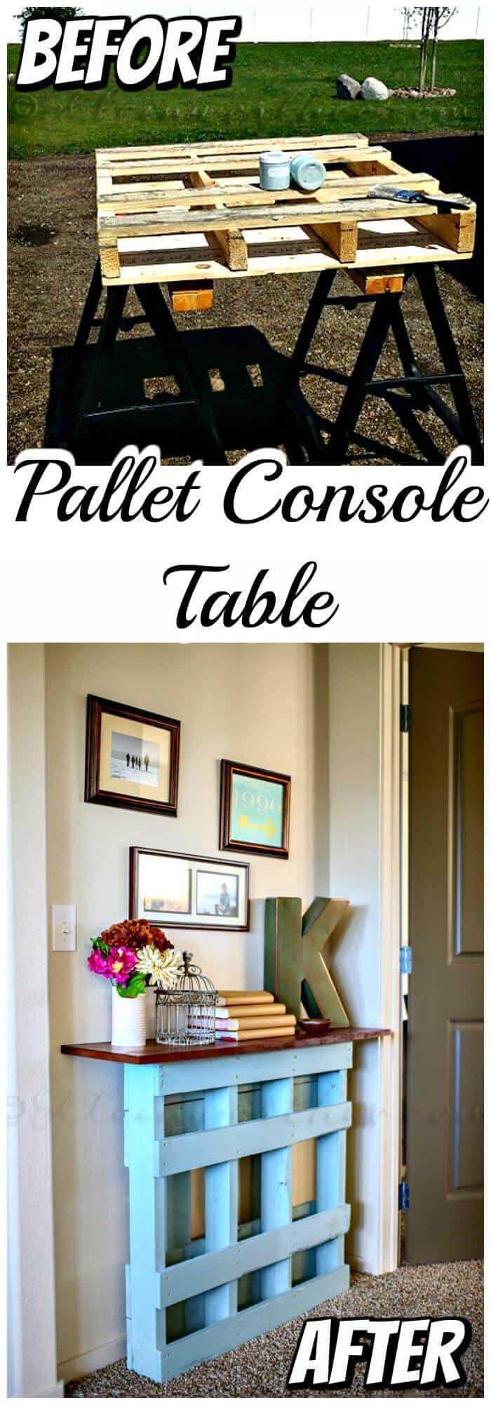 Proyecto de mesa consola de paleta de bricolaje