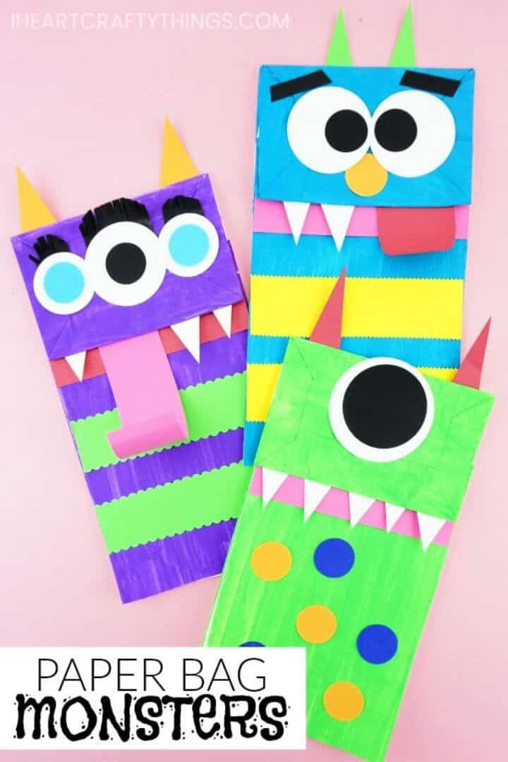 Marionetas de monstruo de bolsa de papel de bricolaje