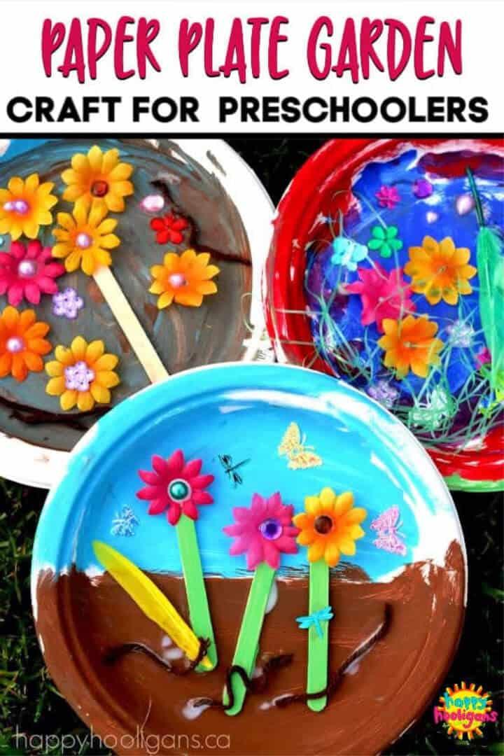 Artesanía de jardín con plato de papel de bricolaje para niños en edad preescolar