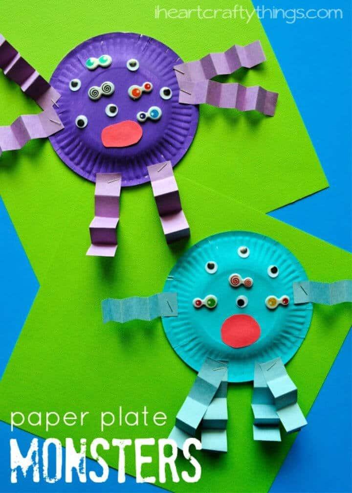 Plato de papel de bricolaje Monster Kids Craft