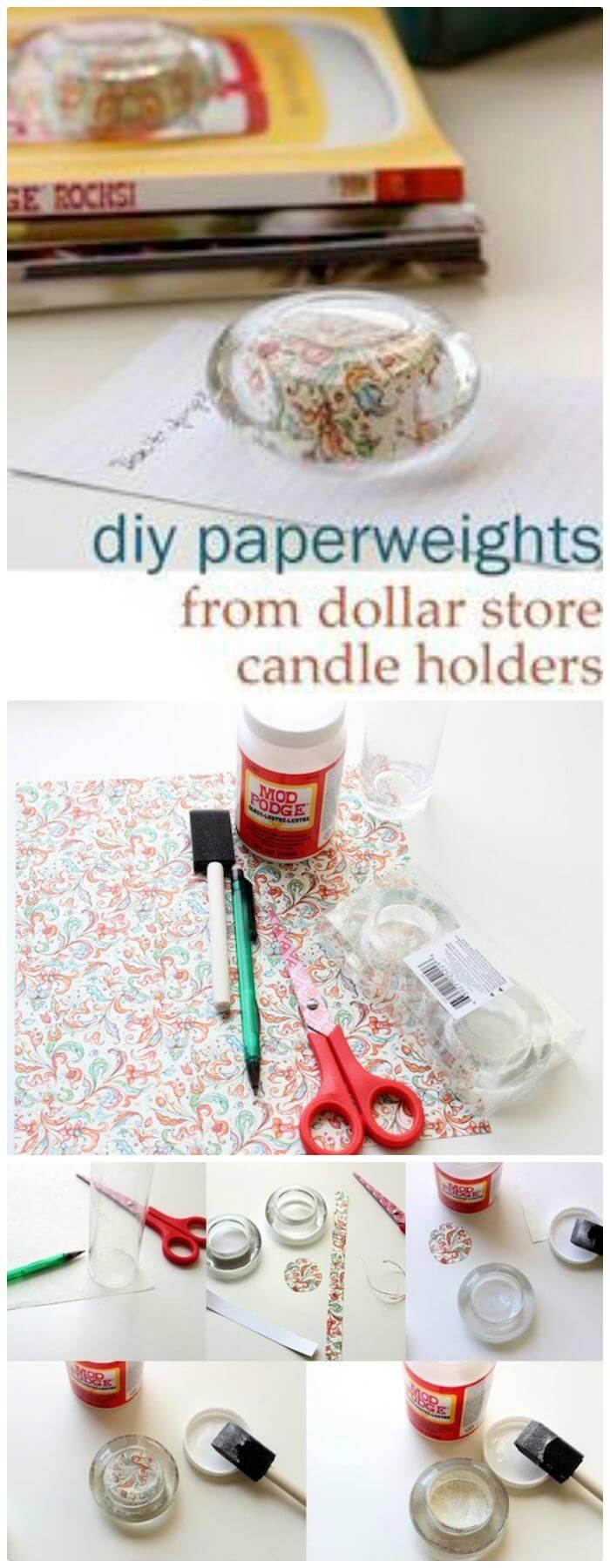 Haga pisapapeles con candelabros de vidrio: manualidades de bricolaje en Dollar Store