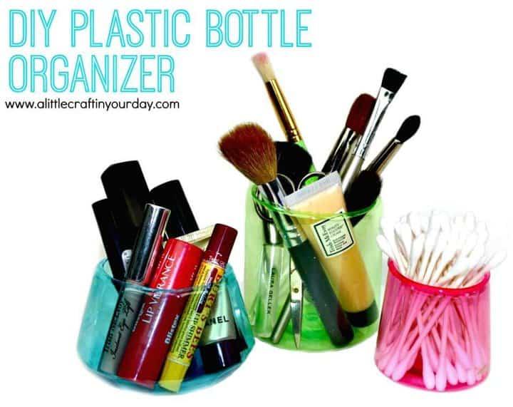 Lindo organizador de maquillaje de botella de plástico de bricolaje