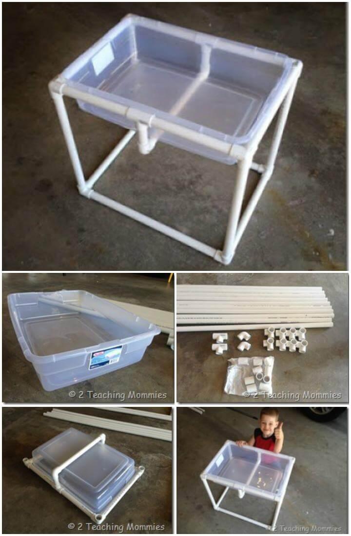 Caja de almacenamiento de plástico para bricolaje y mesa de arena o agua de PVC