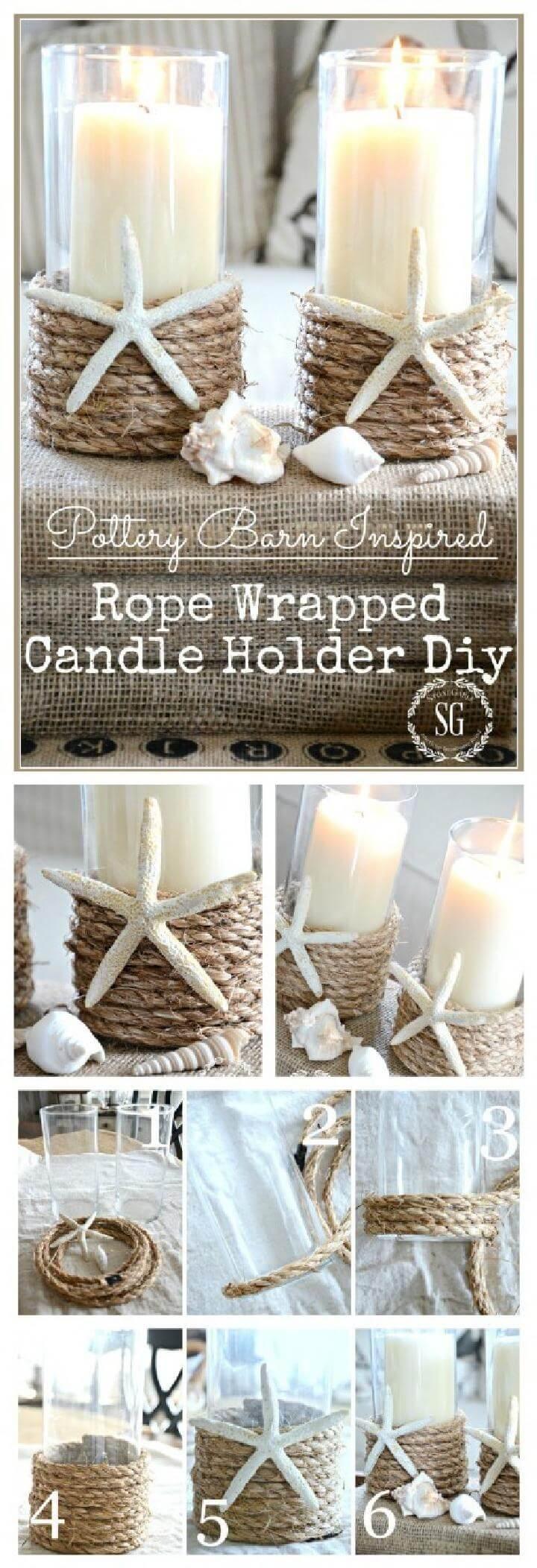 Candelero envuelto en cuerda inspirado en granero de cerámica de bricolaje