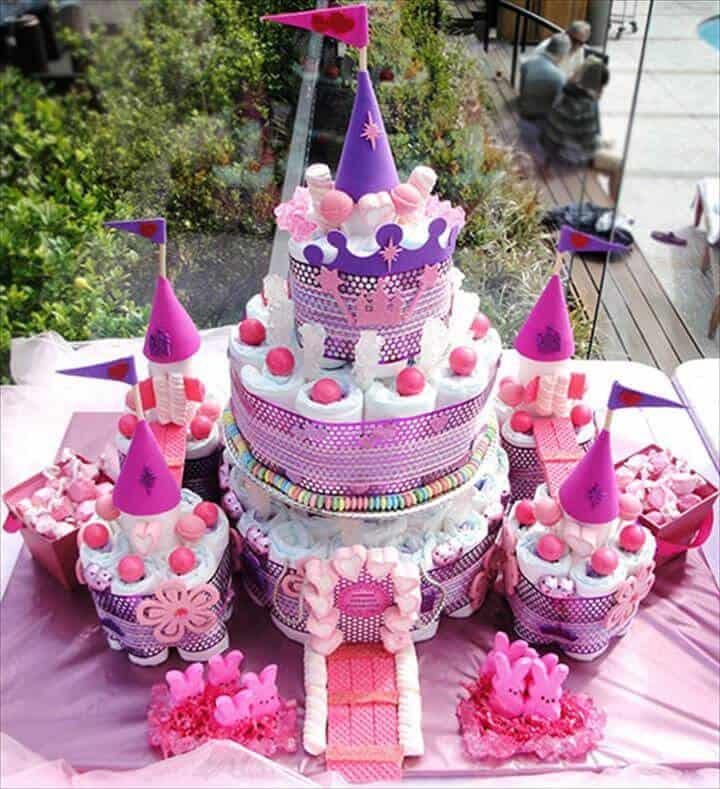 Impresionante pastel de pañales del castillo