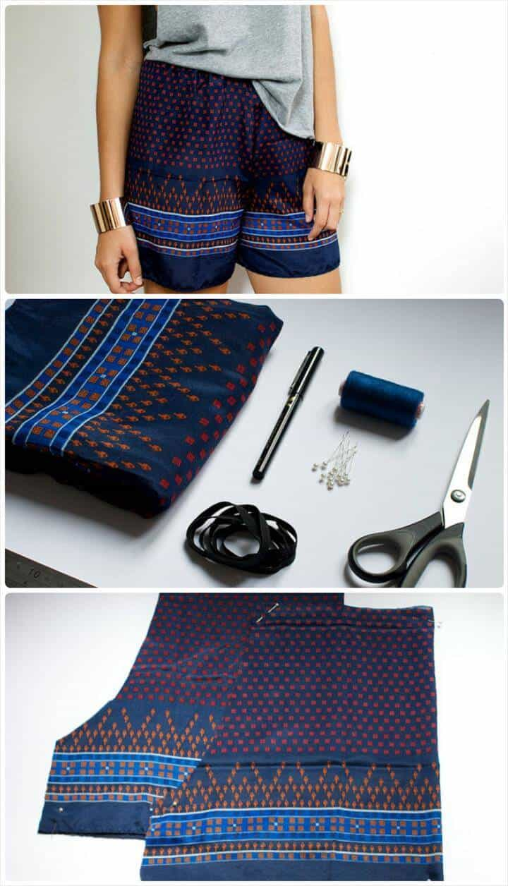 bufanda estampada en pantalones cortos