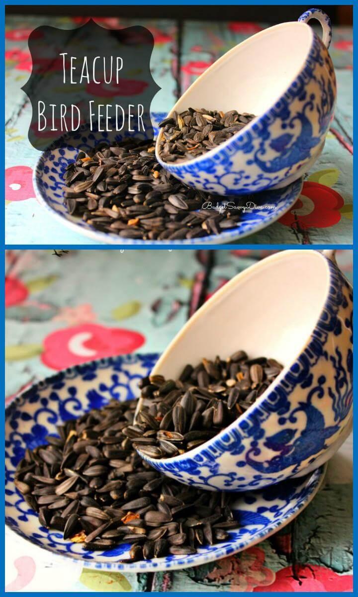 Taza de té y plato antiguo comedero para pájaros