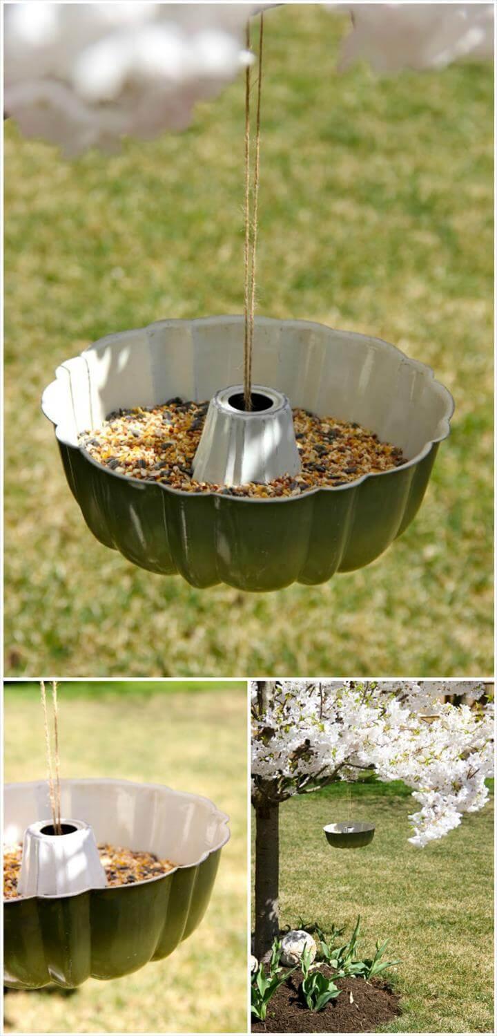 comedero para pájaros reciclado bundt pan