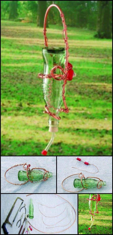 alimentador de colibrí de botella de vidrio reciclado