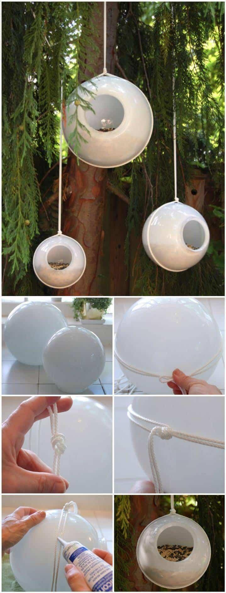 comederos para pájaros de orbes de vidrio reutilizados