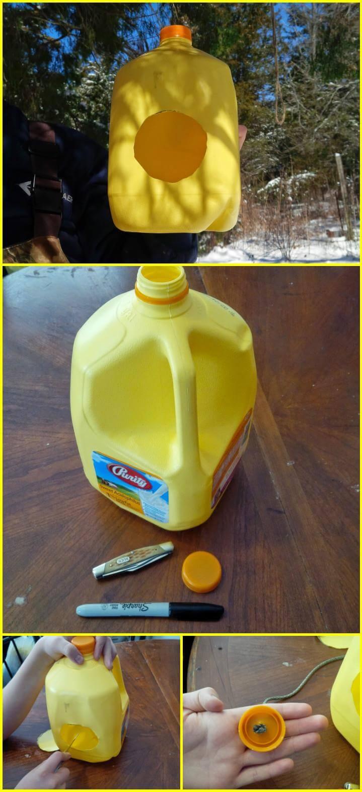 comedero para pájaros de jarra de leche reutilizada