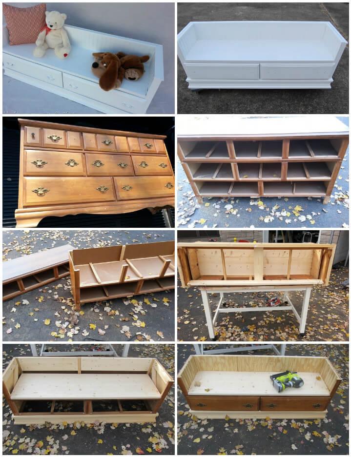 Tocador viejo reconstruido en banco de almacenamiento para niños