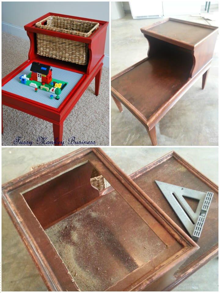 mesa vieja reciclada en mesa lego para niños