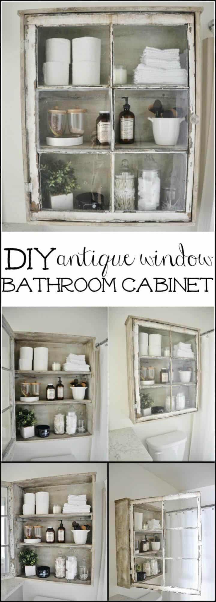 Mueble de baño con ventana vieja reutilizada