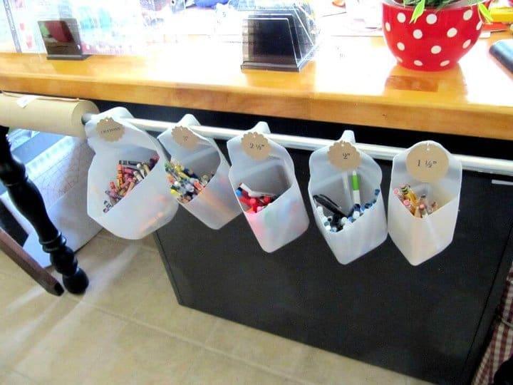 Cartones de leche reciclados de bricolaje para almacenamiento