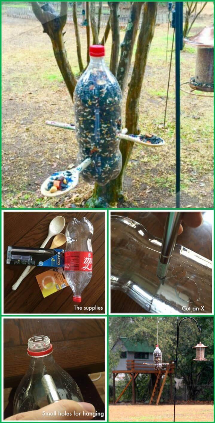 comedero para pájaros reutilizado de botella de refresco