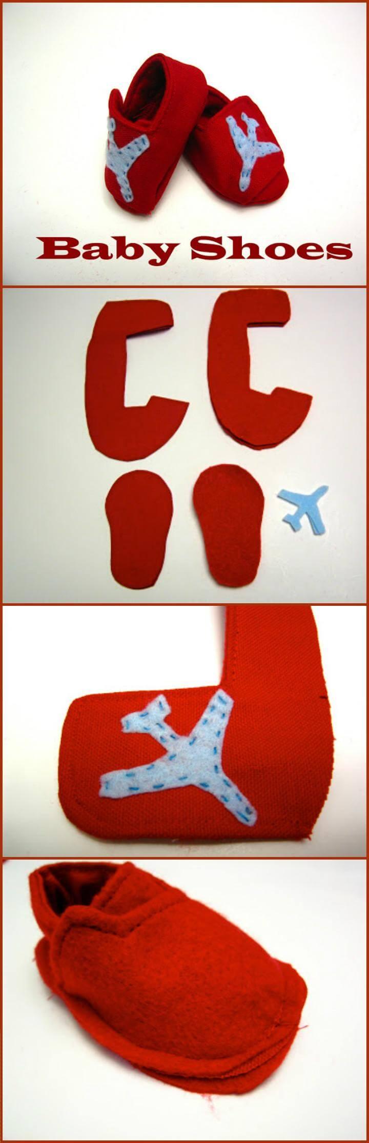 zapatos de bebé rojos hechos a mano con adorno de avión