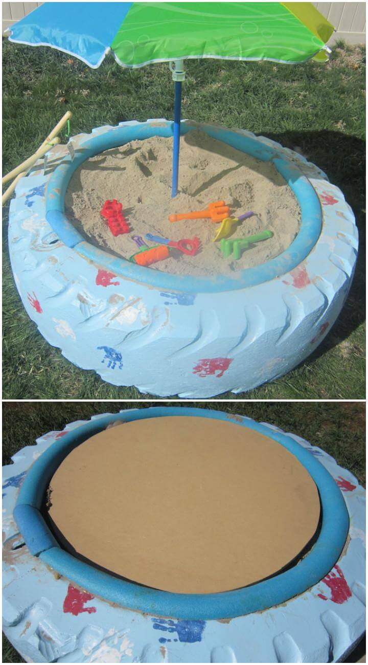 Caja de arena de neumáticos grande reutilizada para bricolaje
