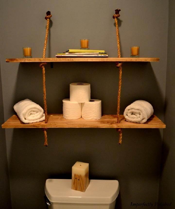 Estantes de baño de madera y cuerda de bricolaje