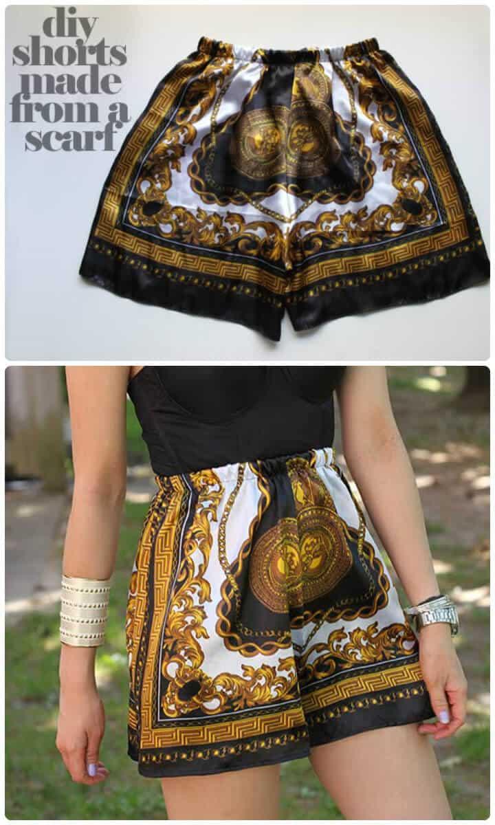 hermosos pantalones cortos de bufanda