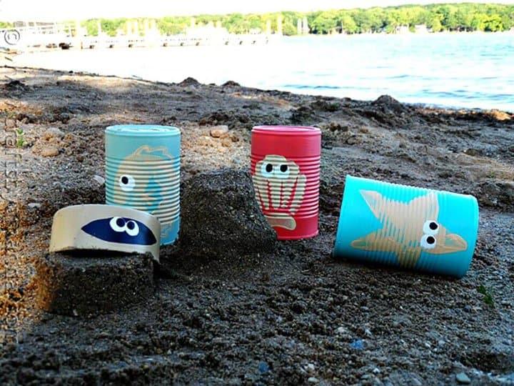 Latas de castillo de arena de criatura marina de bricolaje simples