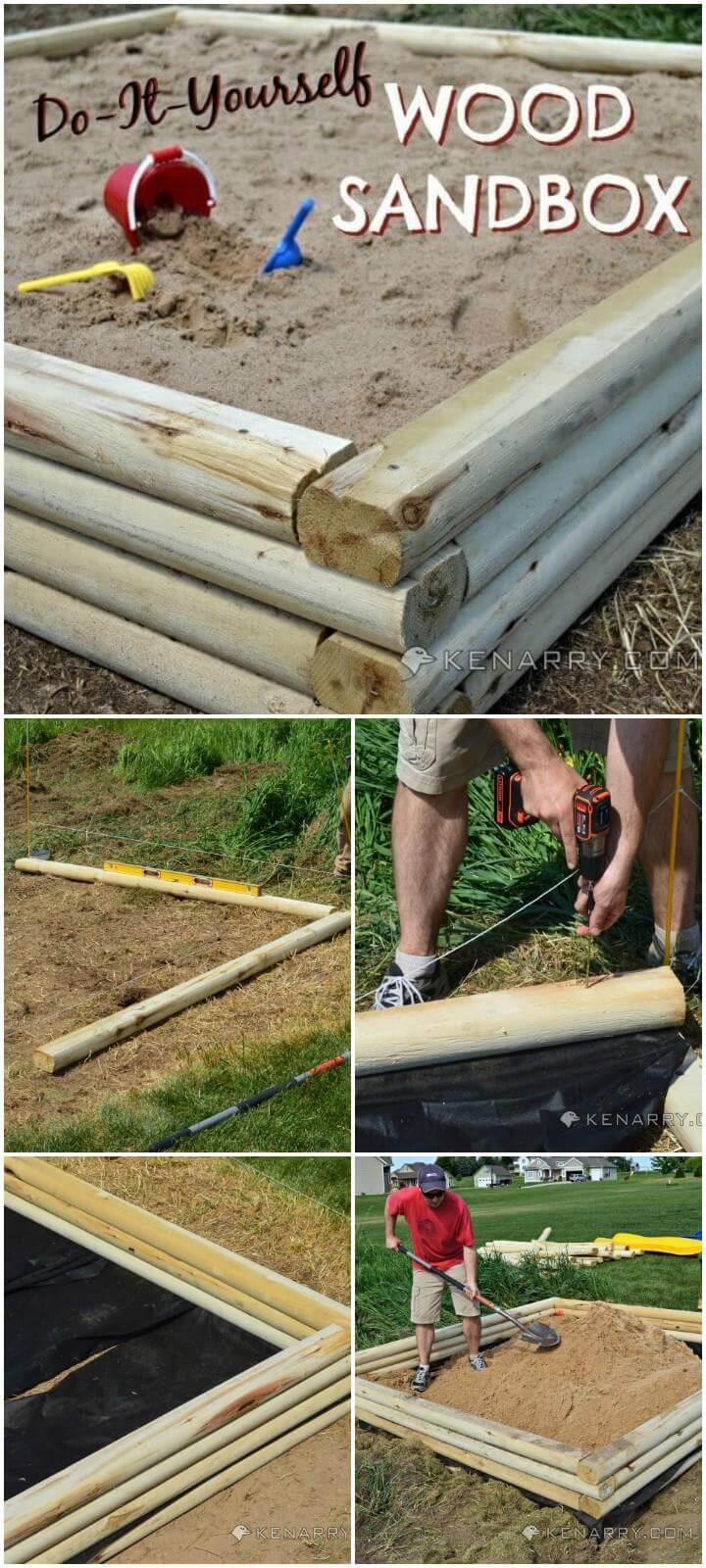 Caja de arena para niños de madera hecha a sí misma de bricolaje