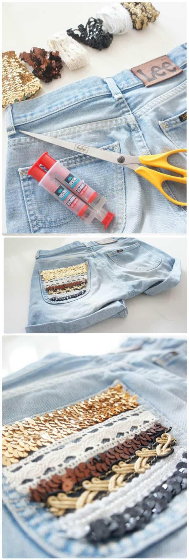 impresionantes pantalones cortos de lentejuelas