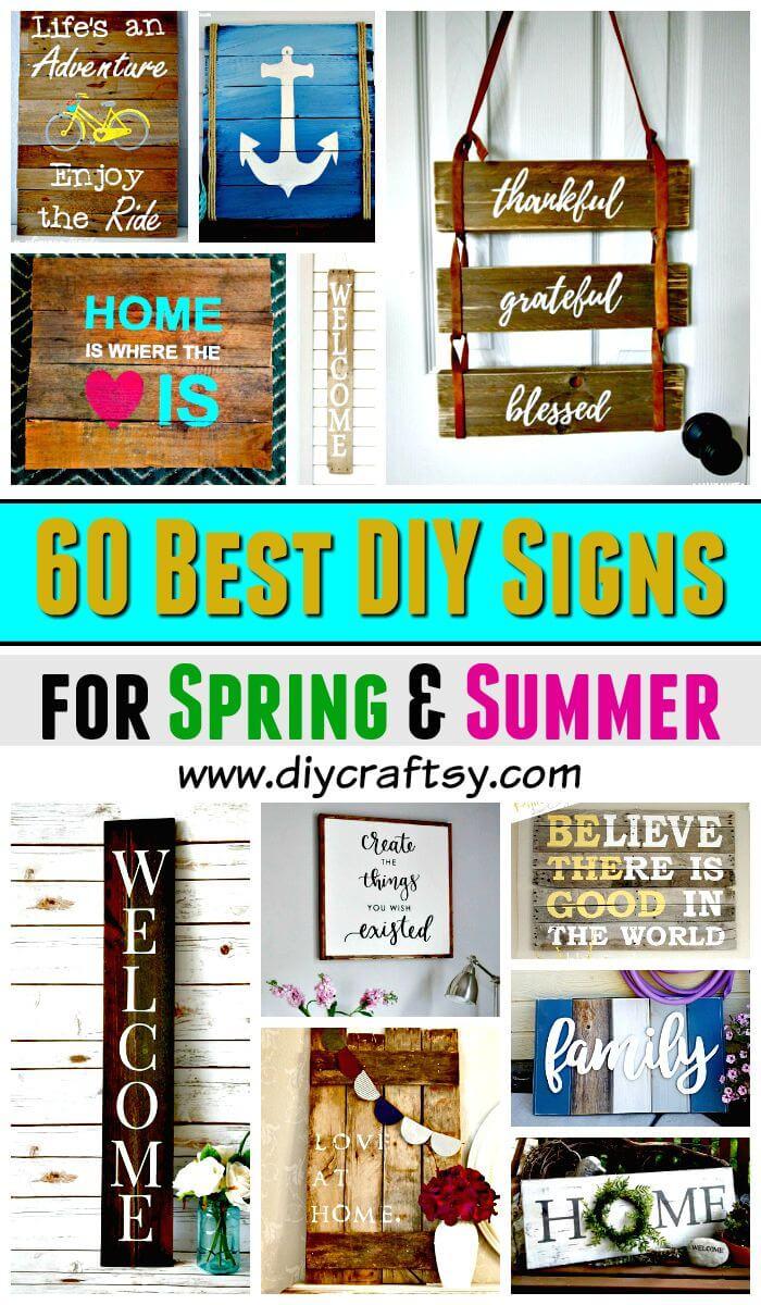 Señales de bricolaje - 60 mejores ideas de carteles de bricolaje para primavera y verano - Ideas de decoración del hogar de bricolaje - Proyectos de bricolaje - Manualidades de bricolaje