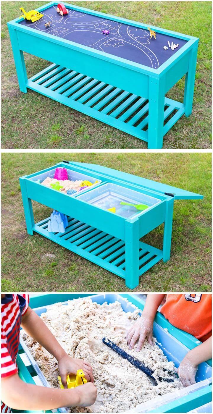 Mesa de agua y arena para niños de construcción inteligente de bricolaje