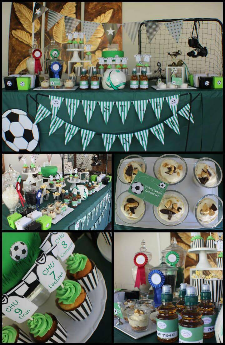 tema de decoración de fiesta de graduación de fútbol barato pero hermoso