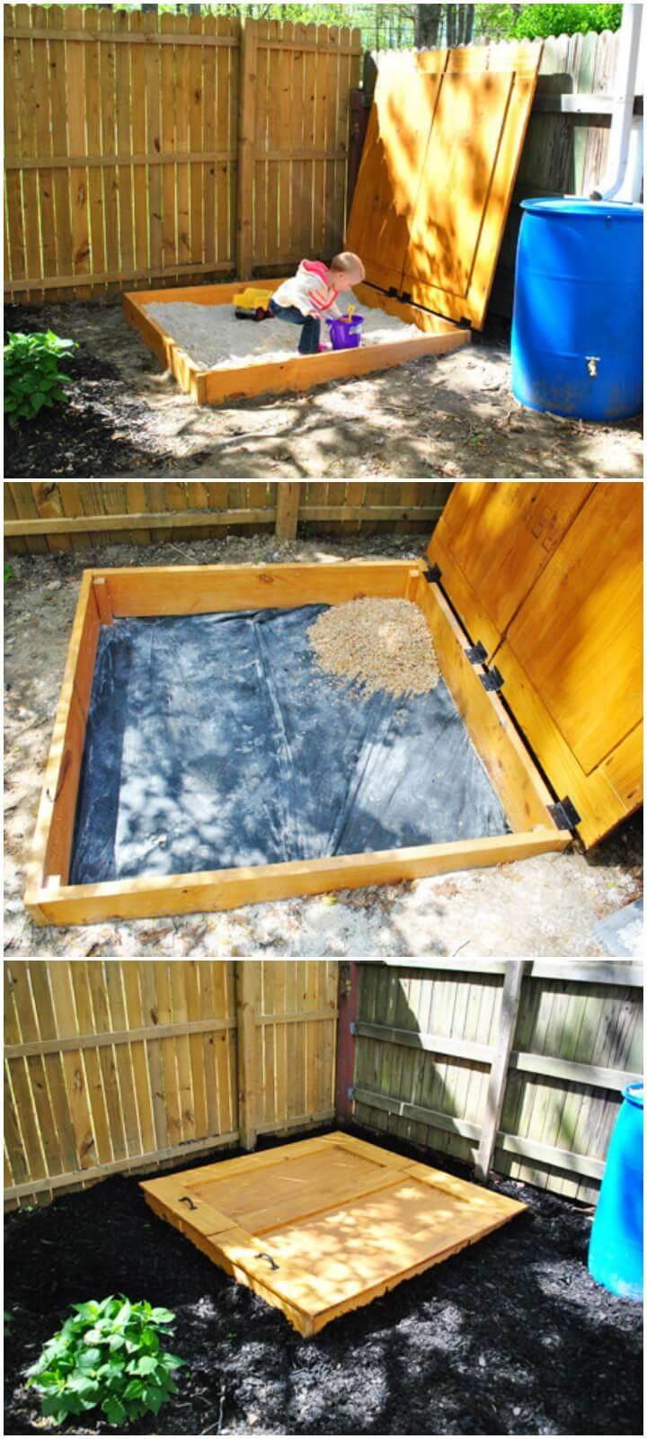 Caja de arena de madera maciza de bricolaje con tapa con bisagras