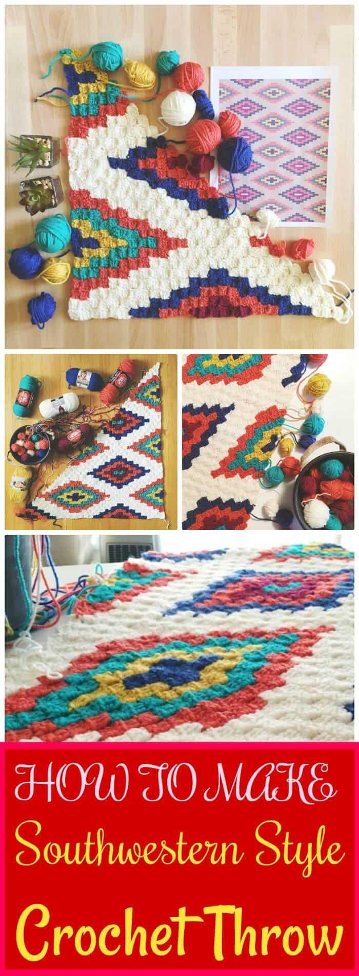DIY Crochet Style Southwestern Throw, técnicas e instrucciones de crochet DIY c2c