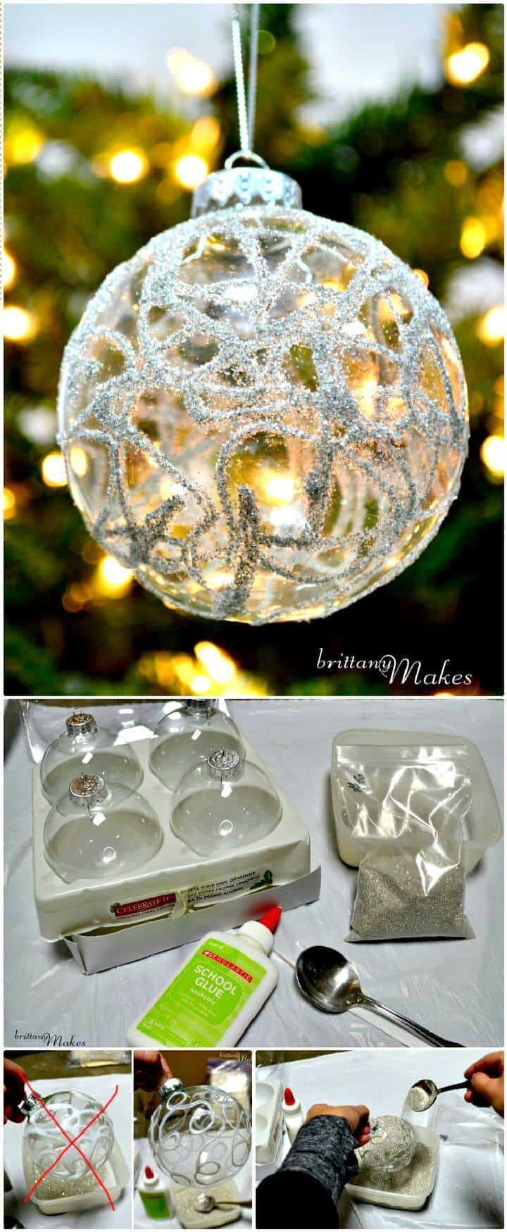 Adornos navideños brillantes de bricolaje